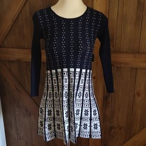 Navy blue and white knit snowflake mini dress